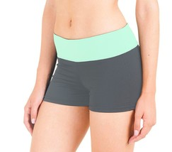 BRAND NEW FLEX WOMEN'S ATHLETIC SPORT WORK OUT GYM CARDIO SHORTS GREY GREEN 5505 image 2