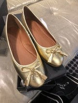 NWB Authentic COACH BENNI Metallic Gold Leather Ballet Flats Size 5 - $59.39