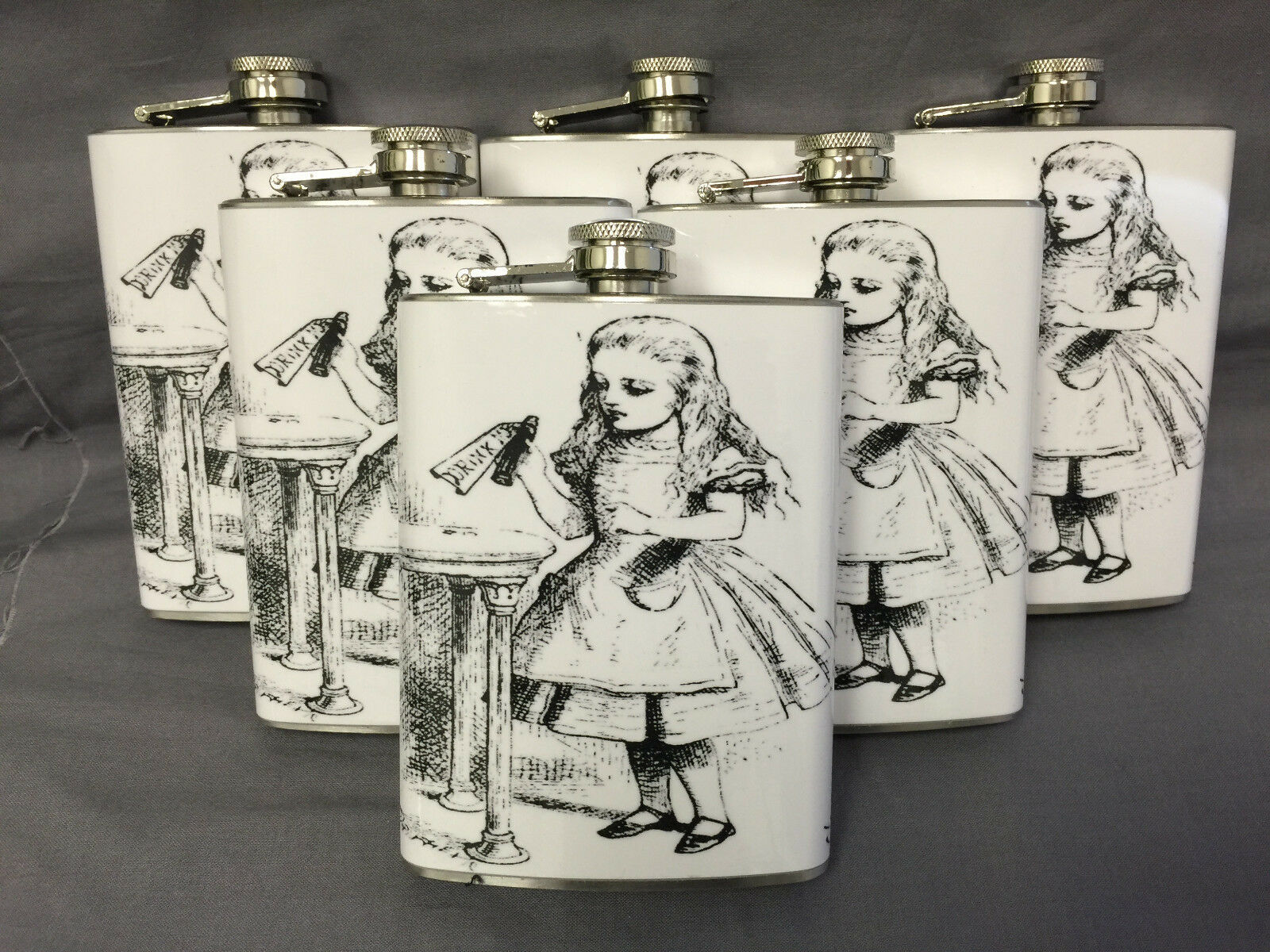 Set of 6 Alice D 6 Flasks 8oz Stainless Steel Hip Drinking Whiskey