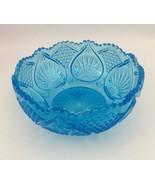 "Vtg Cut Glass 7.5"" Bowl Aquamarine Aqua Blue Ultramarine Starburst - $17.72"