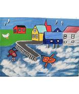 Atlantic Seacoast of Newfoundland FREE S & H Folk Art Painting fishing v... - $28.00