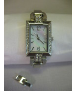 Ladies Cocktail Party Square Watch Silver Tone Rhinestones Mother of Pea... - $29.95
