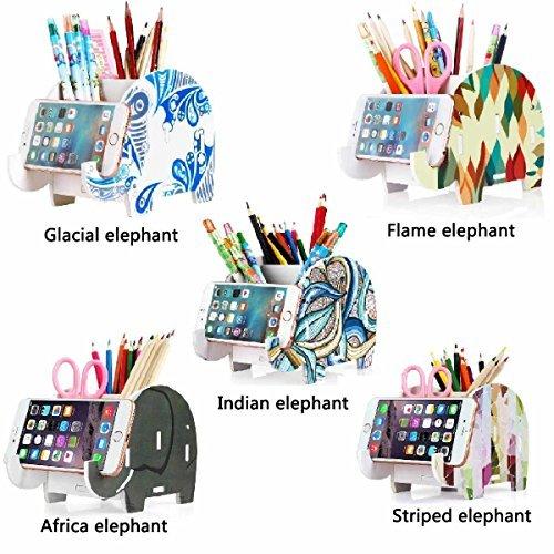 COOLBROS Elephant Pencil Holder With Phone Holder Desk Organizer Desktop Pen Pen