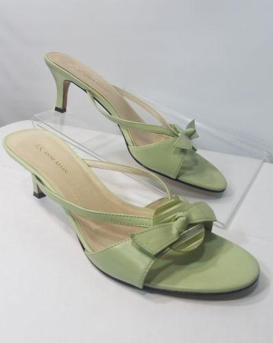 ANNE KLEIN WOMEN'S SLIP ON LEATHER SLIDE MINT GREEN SANDALS KITTEN HEELS Sz 9.5M