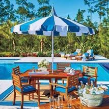 Outdoor Cabana Stripe Blue/white Outdoor Patio Umbrella Retro - $151.95