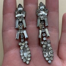 Vintage Clear Rhinestone Dangle Clip On Earrings Navette Baguette Statem... - $14.22