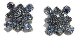 Vintage LaRel Blue Rhinestone Big Sparkling Clip Earrings Silver Tone-Go... - $14.84