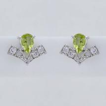 gemstones 925 Sterling Silver fascinating genuine Green Earring gift UK - $11.13