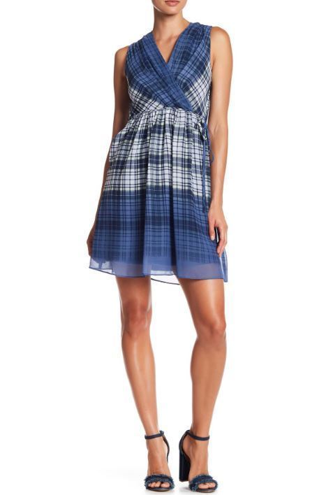 Primary image for Julia Jordan Women's Blue Surplice Neck Plaid Dress Blue Multi Size 8