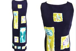 80s 100% Silk Country Casuals Navy Purple Botanical Geometric Art Deco S... - $65.00