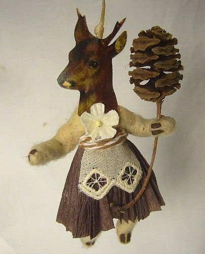 Vintage Inspired Spun Cotton  Deer Girl ornament #112 Christmas Putz!