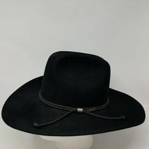 Vtg Stetson 5X Beaver Black Cowboy Hat Sz 6 5/8 Wild Bills Braided Leath... - $105.18