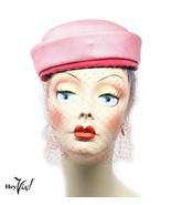 Vintage Pink Straw Pill Box Hat w Veil - Amy New York, Lord & Taylor - Hey Viv - $39.64 CAD