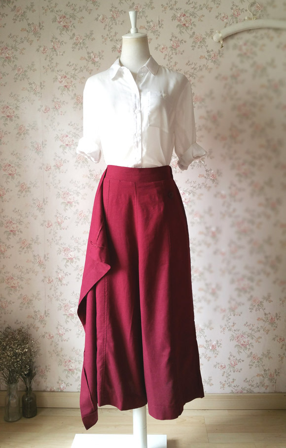 BURGUNDY Loose Wide Leg Linen Pants Women Wrap Pants Trousers Casual Pants NWT