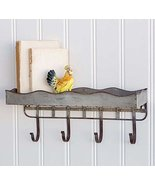 CTW Rustic Metal Wall Shelf with Four Hooks - $37.24