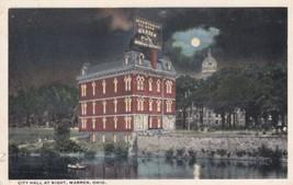 City Hall Warren Ohio OH Postcard At Night Cortland - $2.99