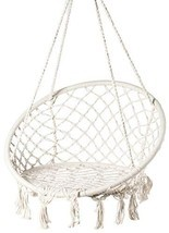 PLAYBERG Round Hanging Hammock Cotton Rope Macrame Swing Chair for Indoo... - £67.89 GBP
