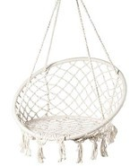 PLAYBERG Round Hanging Hammock Cotton Rope Macrame Swing Chair for Indoo... - $94.49