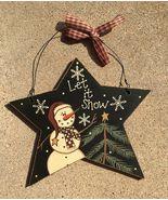Primitive Wood 74704LIS - Let It Snow Star Snowman Christmas Ornament  - $3.95
