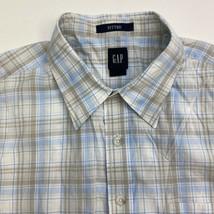 Gap Button Up Shirt Men's Size 2XL Short Sleeve Beige Blue Plaid Fitted ... - $18.95