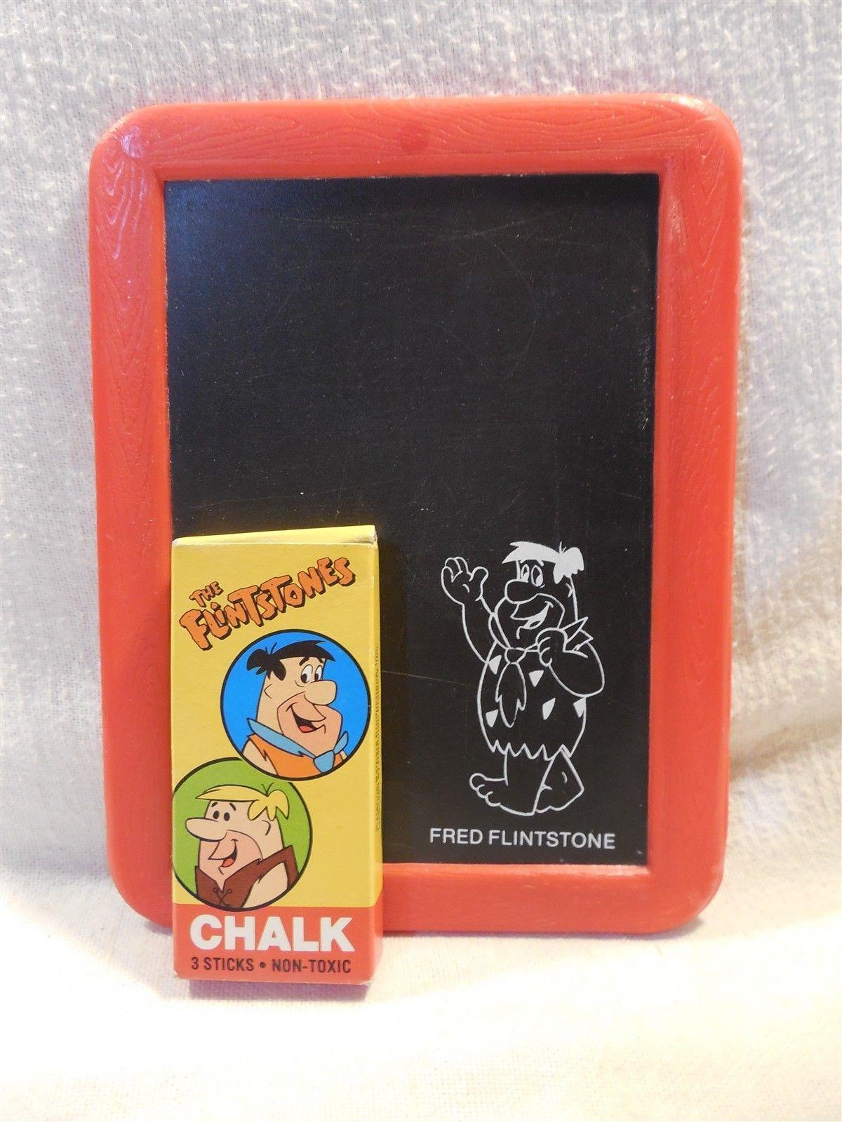 Flintstones Plastic Chalkboard with Box of Chalk - Fred Flintstone Barney Rubble