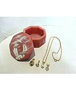 Costume Jewelry Lot Vintage Goldtone Pendants Chain + Alabaster Trinket Box - $16.33