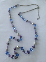 """chain purple & blue necklace beaded 43"""" - $24.99"""