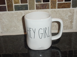 Rae Dunn HEY GIRL Rustic Mug, Ivory with Black Letters, New! - $11.00