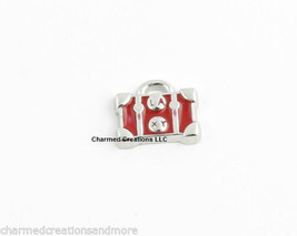 Red Luggage Purse Tote Bag Silver Tone Floating Charm For Glass Memory Locket - $2.95