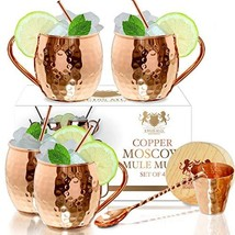 Moscow Mule Copper mugs Set Of 4 By B.WEISS Handmade Hammered Copper Cup... - £30.44 GBP