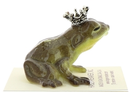 Hagen-Renaker Miniature Ceramic Frog Figurine Brown Frog Prince Kissing image 1