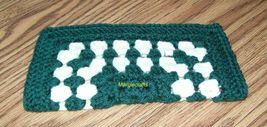 Crochet Dishcloth, Handmade Dishrag, Washcloth, Facecloth, Green, White - $5.00