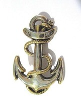 VINTAGE BOAT SHIP ANCHOR PIN TWO TONE GOLD AND SILVER PLATE DETAILED NAU... - $28.00