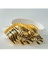 Doreen Ryan Zebra 2 Zebras Belt Buckle Belt Black Enamel Gold Adjustable... - $48.51