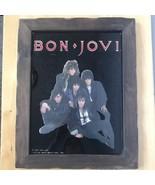 True Vintage 1987 Bon Jovi Wall Art Photo Glass Wood Framed Recessed Loo... - $39.95