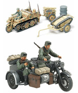 2 Tamiya Models - Motorcycle and Sidecar and 20 mm Quad Flak (Flakvierling) - $28.70