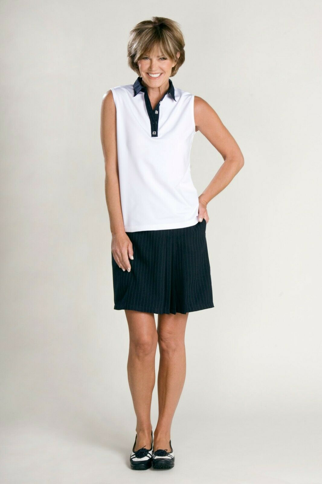 Stylish Women's Golf & Casual White Short Sleeve Collar Top, Swarovski Buttons image 8