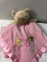 Carters Child of Mine Pink Baby Bear Lovey Rattle Security Blanket Stuffed Toy - $14.85
