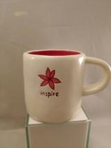 Starbucks Inspire Coffee Mug, Hand Painted, Color Bone & Dark Pink Flower - $12.19