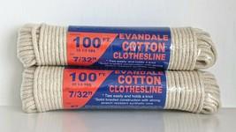 "2 PK - Evandale Cotton Clothesline 100 ft x 7/32"" diameter, Working Load... - $29.65"
