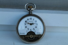 Antique Vintage Old Hebdomas 8 Days Swiss Made Pocket Watch with Porcela... - $346.60