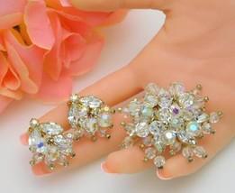 Dazzling Vtg Crystal Rhinestone Brooch & Earrings Dangle Drippy Cha-Cha ... - $95.00