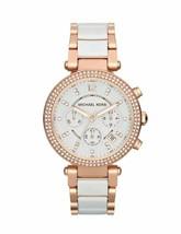 Michael Kors MK5774 Rose Gold Ceramic Parker Chronograph Analogue Watch + Bag - $126.51