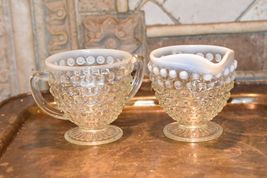 Moonstone HOBNAIL Cream Creamer & Sugar Bowl WHITE ART GLASS Vintage FENTON image 4