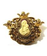 Treasure from Vatican Sistine Salon St. Mary Pin Brooch Gold tone cameo - $39.60