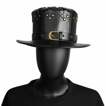 Black Riveted Hat PU Leather Halloween Plague Doctor Cosplay Steampunk C... - £28.57 GBP