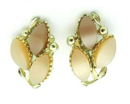 Gold Tone Brown Tan Thermoset Flower Clip Earrings Vintage - $29.70