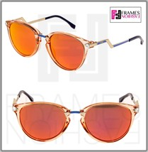 FENDI IRIDIA FF0039S Crystal Peach Gold Pink Mirrored Metal Sunglasses 0039 - $264.33