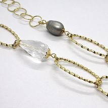 Necklace Silver 925, Yellow, Onyx, Pearls Grey, Ovals Twisted, 95 CM image 4