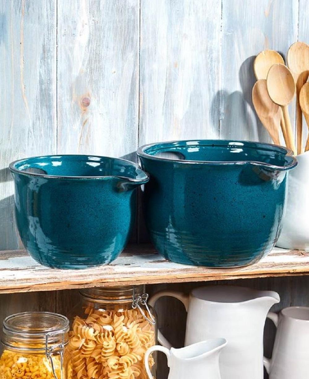 Pouring Bowls Batter Bowl Handle Spout Kitchen Cookware Stoneware Mix Set of 2